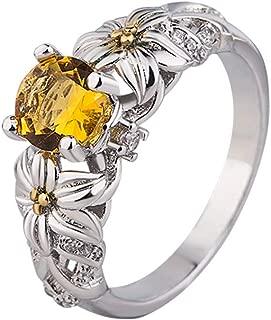Women Creative Design Horse Eye Shape Orange Jewel Dotted Wedding Ring Gifts Ring Birthday Graduation Gifts for Girls