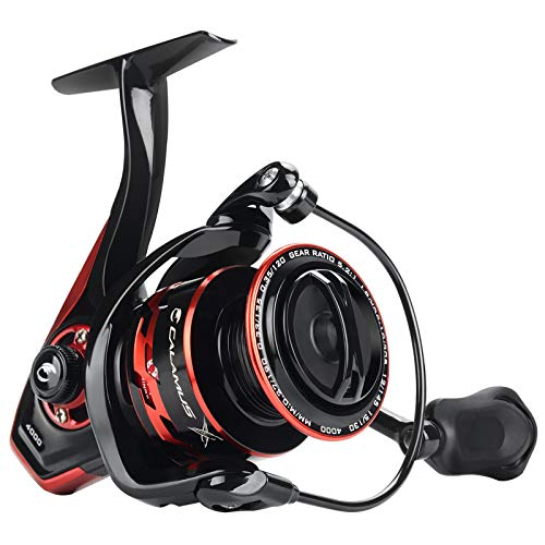 Calamus X2 Spinning Reel, 5.2:1 Gear Ratio Fishing Reel, 9+1 High Performance BB, Machined Aluminum Spool and Bail, Nylon Infused NL66 Body and Rotor, Size 3000
