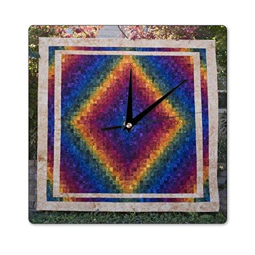 Mari57llis Reloj de madera de mano Harmony, reloj cuadrado de decoración de pared, no hace tictac, 12 x 12 pulgadas