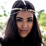 Leiorthrix Sequins Coins Hair Chain Boho Gold Head Chain Hair Jewelry Head piece for Women and Girls (Style 2)