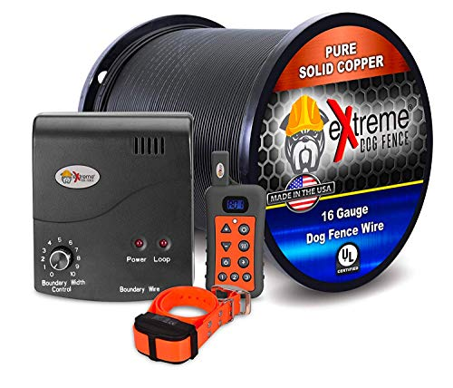Electric Dog Fence + Remote Trainer - 1 Dog / 500' of 16 Gauge Underground Dog Fence Wire (Up to 1/3 Acre) - Dual Solution to Contain and Train Your Dog(s) with a Single Collar