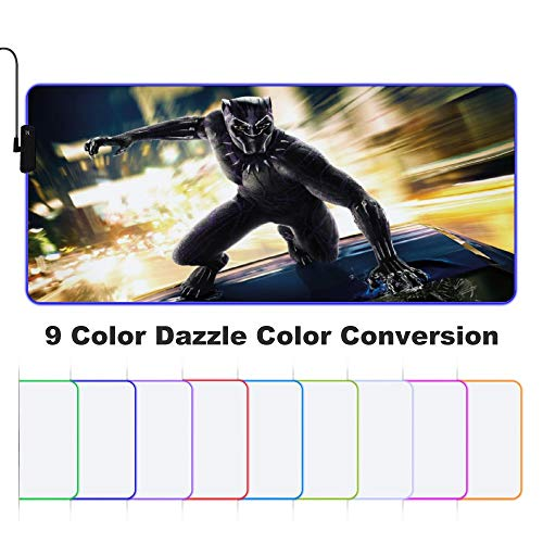 Black Panther RGB Gaming Mouse Pad,Non-Slip Rubber Base Computer Keyboard Pad Mat 35×15×0.1 Inches