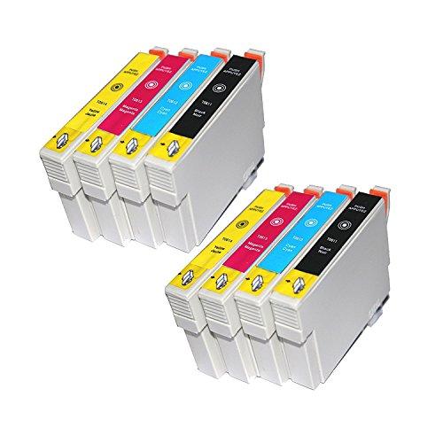 TiAN–8cartuchos de tinta compatibles 2x T0611, 2x T0612, 2x T0613, 2x T0611T0612T0613T0614reemplazar para Epson Stylus DX4200DX4250DX4800DX4850DX3800DX3850D68D88impresoras