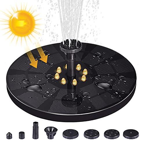Solar Springbrunnen mit LED Licht, Solar Teichpumpe mit 3W Solar Panel, Solarbrunnen mit 8 DüSe, Eingebaute 1600 mAh Batterie, Solar Wasserpumpe für Teich , Garten (18cm Durchmesser, Warmes Licht)
