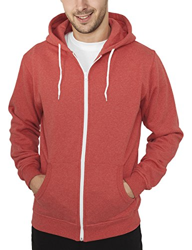 Urban Classics Jacke Melange Zip Hoody Blouson Homme, Rouge (Red), (Taille Fabricant: Large)