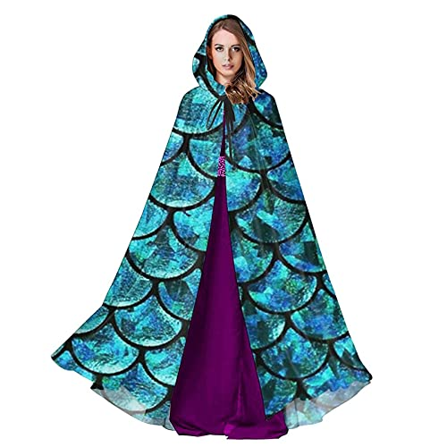 Peacock Green Scales Unisex Hooded Cloak Wizard Robe, Halloween Cosplay, Medieval Renaissance Costume.