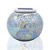 Solar Glass Ball Table Light,Color Changing Solar Powered Mosaic Glass Table Lamps, Waterproof