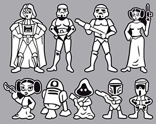 Graphic Worx Starwars Famille – 9 Stickers pour Partie arrière de Coffre – Dimensions 350 mm x 250 mm - Blanc