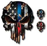 3X Thin Blue Red Line Skull American Flag Sticker Vinyl Decal Car Truck Window I Support Police and Firefighters - Peel and Stick 3M Vinyl with Bubble Free Adhesive