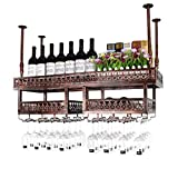 N\C ZSCC - Estante de almacenamiento para vino con champán para colgar en la pared, estante para vino, soporte de vidrio para colgar en la pared, estante de almacenamiento de techo ajustable