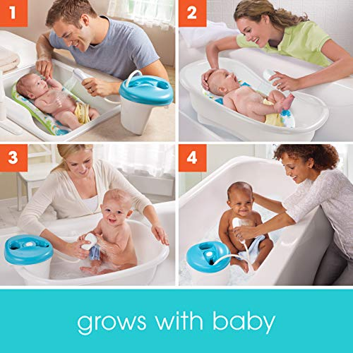 Summer Newborn to Toddler Bath Center and Shower (Neutral) - Bathtub Includes Four Stages that Grow with Your Child