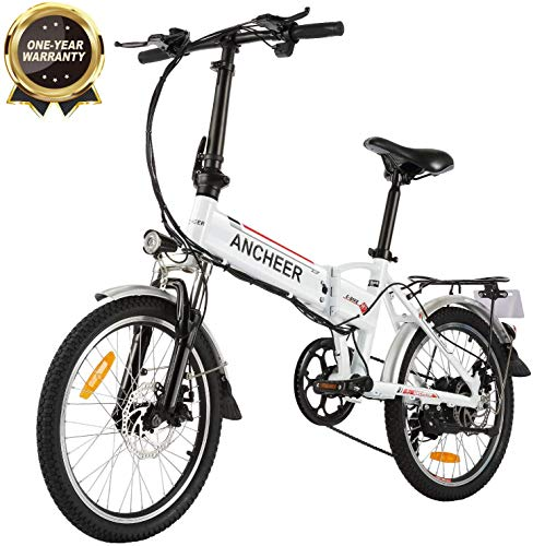 Electric Bikes ANCHEER Folding Electric Bike for Adults, 20″ Electric Bicycle/Commute Ebike with 250W Motor, 36V 8Ah Battery, Professional 7 Speed Transmission Gears (White) [tag]