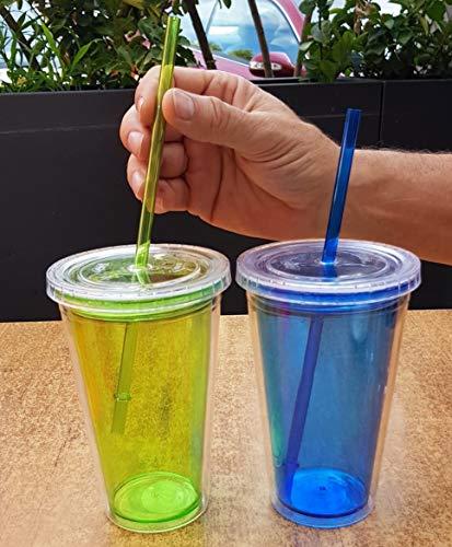 ML Pack de 2 de Vasos de plástico Reutilizables con Doble Aislamiento...