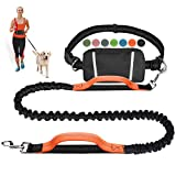Hands Free Dog Leash Retractable Bungee Heavy Duty Dog Running Waist Leash for Running Walking Jogging Training Hiking with Medium to Large Dogs, Waist Belt Pouch, Reflective Stitches, Dual Handle
