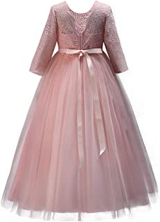 IWEMEK Girls 3/4 Sleeve Tulle Lace Flower Wedding Bridesmaid Dress Floor Length A Line Formal Pageant Long Prom Evening Gown