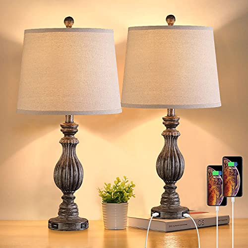 Pauwer Set de 2 lamparas de mesita de noche vintage,Doble USB Recargable, Luz de Mesa Lámpara Escritorio Clasico para Dormitorio, Sala de estar,Comedor