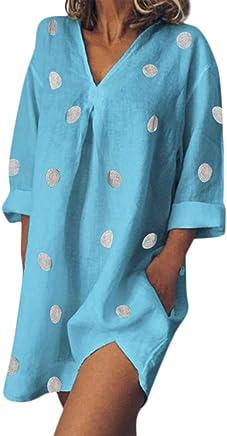 Darringls Vestiti Donna Estate Lunga Vestito Eleganti Abito Manica Lunga Vintage Stampa Estiva da Donna Boho di Polka Dots Cocktail Vestito - Confronta prezzi