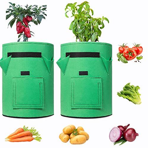 VSTAR66 Bolsas de cultivo de plantas de 10 galones, 2 macetas de jardín con asas, bolsas de tela gruesa para cultivo de vegetales, utilizadas para flores, cebolla, tomate
