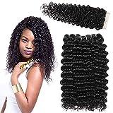 LVY pelo natural humano Extensiones de cabello pelo rizado profundo natural brasileño 3 bundle pelo natural humano con parte libre de cierre 30 35 40+25 CM