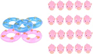 MagiDeal 20 Floating Pink Rubber Bath Piggy 5 Swim Ring Baby Fun Toy in Tub Present