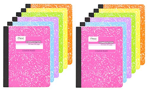Mead Composition Book, 12 Pack of Cute Notebooks, College Ruled paper, Hard Cover 100 sheets (200 Pages) , Pastel Color Notebook