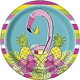 Unique Party - Platos de Papel - 23 cm - Diseño de Verano de Piña y Flamenco - Paquete de 8 (72695)