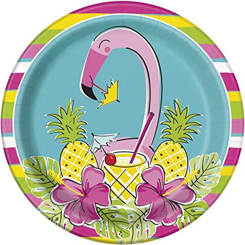 Unique Party 72695 - 23cm Summer Pineapple & Flamingo Paper Plates, Pack of 8