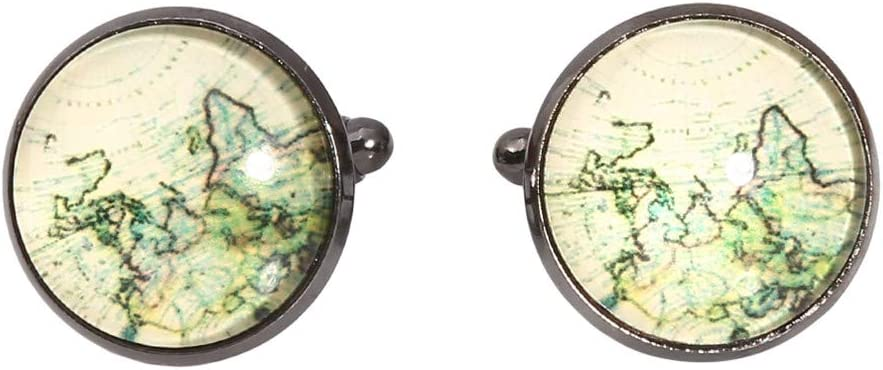 Flybloom Men's Shirt Cufflinks Earth World Map Ball Button Ornament Clothes Accessories(Black)