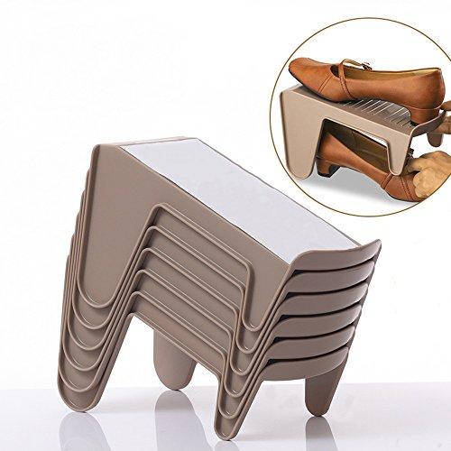 QFFL Chaussure de chaussure créative Layered Rack / 2 couche anti-dérapant Rack de stockage/simple étagère de chaussures gain de place (un Pack de 6) Range-chaussures
