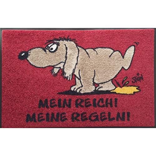 Wash + Dry Waschbare Fußmatte ©Uli Stein Hund - Mein Reich! Meine Regeln! 50x75cm lustiger Fußabstreifer