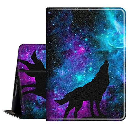 iPad 10.2 Case 8th/7th Generation (2020/2019 Release) Slim PU Leather Shockproof with Auto Wake Sleep Feature Folio Cover for Apple New iPad 8th /7th Gen 10.2 Inch, Galaxy Wolf