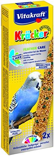 Vitakraft Knabberstangen für Wellensittiche, Unterstützung bei Federwechsel, Zuckerfreie Rezeptur, Kräcker Feather Care