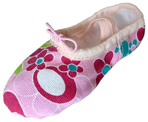35, Dancina Zapatillas de Ballet de Lona Rosa para Niñas – Su Primer Zapato de Baile