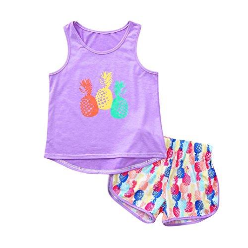 Styledress Baby Kleidung Set Strampler Overall 2PCS Sommer Neugeborenes Baby Mädchen Jungen Pyjama Ananas Print T-Shirt +Hose Outfits Jumpsuit Outfits Spielanzug Kleider Set (Lila, 5-6 Jahr)