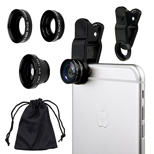Universelles 3 in1 Kamera-Objektiv-Set für Smartphones. Fischauge-Objektiv / 2in1 Makro und Weitwinkel-Objektiv/Universal-Clip/Mikrofasertragetasche - Kompatibel mit iPhone, Samsung, Tablets, iPad