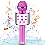 Ranphykx Bluetooth Karaoke Wireless Microphone for Kids, Hottest Birthday Presents Toys for 9 10 11 12 Years Old Boys Girl (Hot Pink)