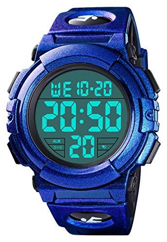 Orologio digitale da uomo, impermeabile, militare, digitale, sportivo, con formato 12/24H, sveglia, cronometro, grande volto, LED digitale, orologio sportivo da uomo