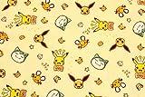 キャラクター生地 ポケットモンスター(ポケモン)ピカチュウ,イーブイ,デデンネ,カビゴン コットン100% シーチング Pocket Monster Pokemon 45cm X 110cm