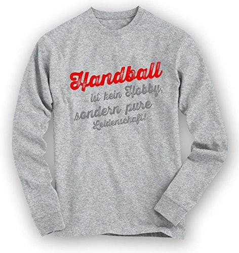 Shirt Happenz Handball Sweatshirt | Handball-Pullover | Hobby | Leidenschaft | Unisex | Sweatshirts, Farbe:Graumeliert;Größe:XXL