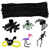 100 Pieces Pipe Cleaners Chenille Stem, Solid Color Pipe Cleaners Set for Pipe Cleaners DIY Arts Crafts Decorations, Chenille Stems Pipe Cleaners (Black)