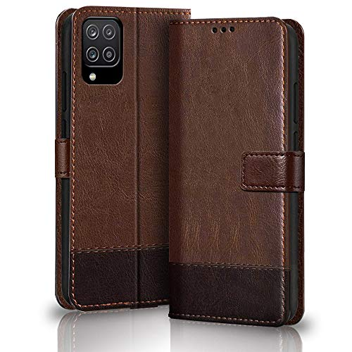 TheGiftKart Flip Case Back Cover for Samsung Galaxy M12 / F12 / A12 (Dual Color | Faux Leather | Brown & Coffee)