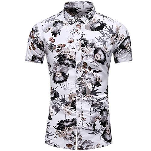 Jinyuan Camisa Hawaiana De Playa De Verano para Hombres 2020 Marca De Manga Corta Camisa Floral De Gran TamañO Ropa Casual De Vacaciones para Hombres