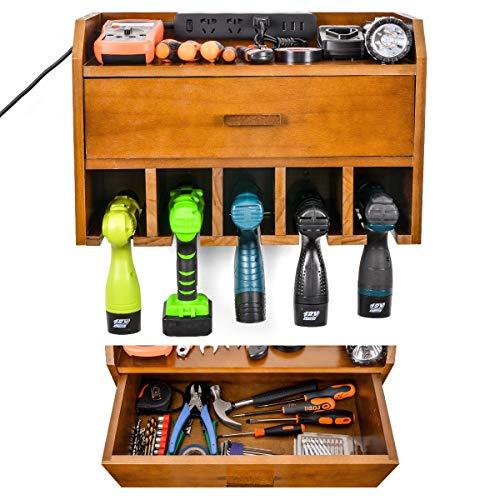 Aufbewahrung von Elektrowerkzeugen - Aufladestation für Garagenorganisatoren - Akku-Bohrerhalter aus Holz - Wandhalterung mit Schublade (braun)