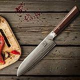 zayiko Kass Damastmesser Santoku Messer 17,70 cm Klinge extrem scharf aus 67 Lagen I Damast Küchenmesser und Profi Kochmesser aus echtem japanischen Damaststahl mit Pakkaholz Griff - 2