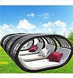 WYFDM Lazy Exterior Redondo Grande Cama de Mimbre Muebles del Patio del sillón de ratán Beach Cama con Acolchonadas Conjunto