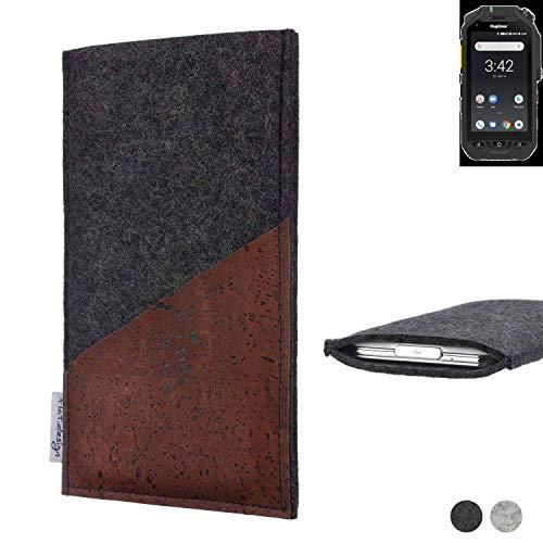 flat.design Handy Hülle Evora für Ruggear RG725 handgefertigte Handytasche Kork Filz Tasche Case fair dunkelgrau
