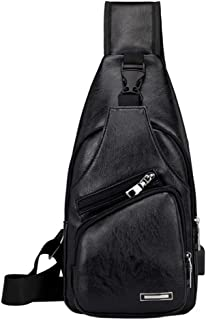 Vintage Leather Sling Bag Backpack for Men Crossbody Shoulder Chest Day Pack Backpacks