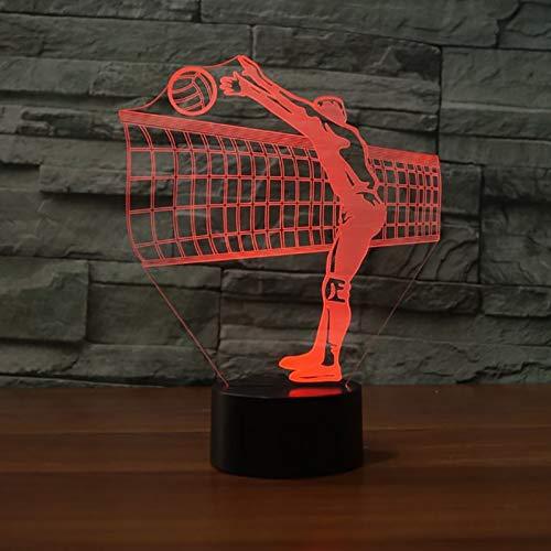 Volleyball Sports Net block Action 3D acrílico LED luz de noche niño niña dormitorio club de noche Oficina USB lámpara de mesa regalo para niños decoración del hogar