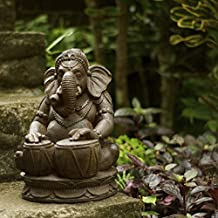 MISC Brown Elephant Ganesh Statue of Lord Ganesha Statue Ganpati Playing Tabla Hindu God Spiritual Hinduism Antique Design Home Garden Decor Sculpture Standing Indoor Outdoor Handmade, Stone