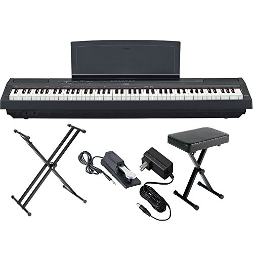 Best Deals! Yamaha P125B 88-Key Weighted Action Digital Piano with Sustain Pedal, Power Supply, Doub...